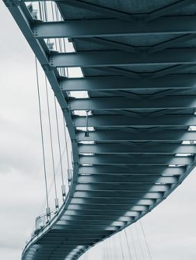 USA, Nebraska, Omaha, Bob Kerrey Pedestrian Bridge Across the Missouri River by Walter Bibikow