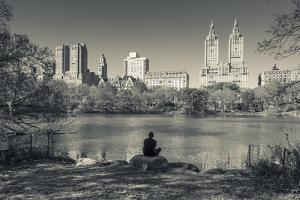 USA, New York, Central Park, Upper West Side Buildings in Fall by Walter Bibikow