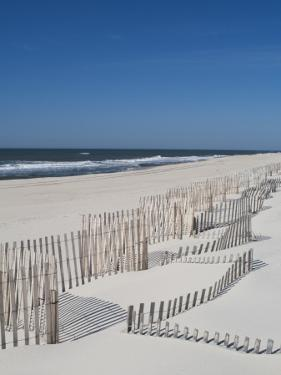 USA, New York, Long Island, the Hamptons, Westhampton Beach, Beach Erosion Fence by Walter Bibikow