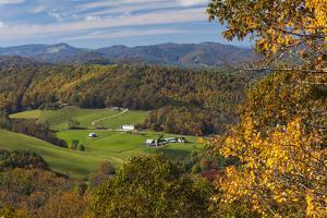 USA, North Carolina, Blowing Rock, Autumn Landscape Off of the Blue Ridge Parkway by Walter Bibikow