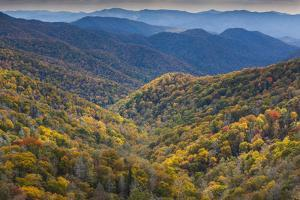 USA, North Carolina, Great Smoky Mountains National Park, Autumn Panorama from Newfound Gap by Walter Bibikow