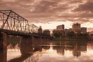 USA, Pennsylvania, Harrisburg, City Skyline from the Susquehanna River by Walter Bibikow