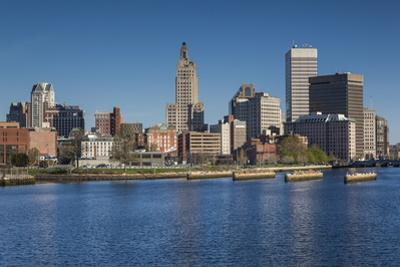 USA, Rhode Island, Providence, city skyline from the Providence River, morning by Walter Bibikow