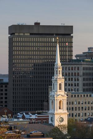 USA, Rhode Island, Providence, First Baptist Church in America and city skyline by Walter Bibikow