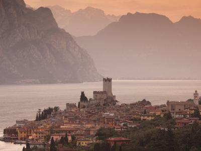 Veneto, Lake District, Lake Garda, Malcesine, Aerial Town View, Italy by Walter Bibikow