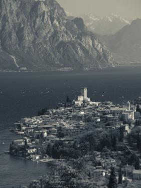 Veneto, Lake District, Lake Garda, Malcesine, Aerial Town View, Italy by Walter Bibikow
