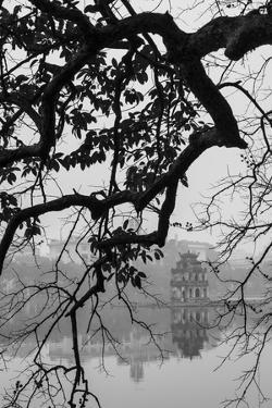 Vietnam, Hanoi. Hoan Kiem Lake and Thap Rua, Turtle Pagoda by Walter Bibikow