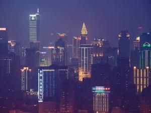 View from Yikeshu, Chongqing, Yangtze River, Chongqing Province, China by Walter Bibikow