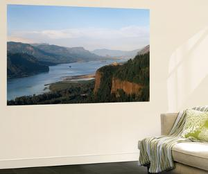 View of Crown Point at Dusk, Columbia Gorge, Oregon, USA by Walter Bibikow