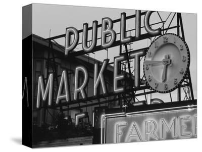 View of Public Market Neon Sign and Pike Place Market, Seattle, Washington, USA