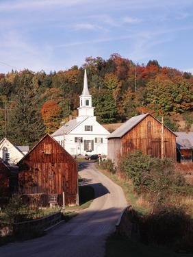 Waits River, View of Church and Barn in Autumn, Northeast Kingdom, Vermont, USA by Walter Bibikow
