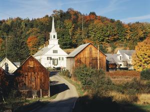 Waits River, View of Church and Barn, Northeast Kingdom, Vermont, USA by Walter Bibikow