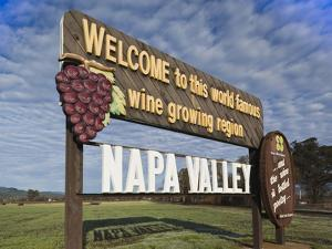 Welcome to Napa Valley Sign, Napa, Napa Valley Wine Country, Northern California, Usa by Walter Bibikow