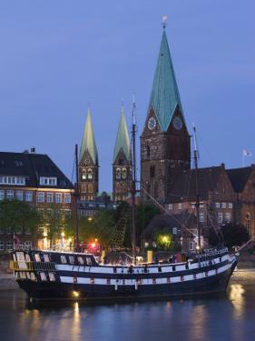 Weser River Waterfront, Bremen, State of Bremen, Germany by Walter Bibikow