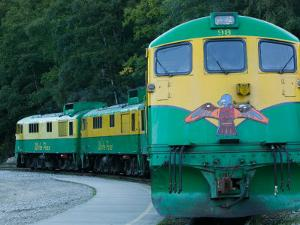 White Pass and Yukon Route Scenic Railroad Locomotive, Skagway, Southeast Alaska, USA by Walter Bibikow