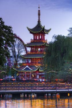 Denmark, Zealand, Copenhagen, Tivoli Gardens Amuseument Park, Chinese pavillion by Walter Bibikw