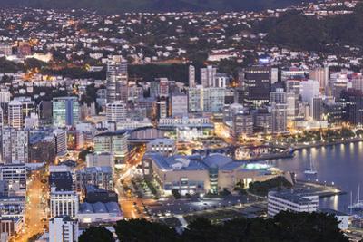New Zealand, North Island, Wellington, elevated city skyline from Mt. Victoria, dawn by Walter Bibikw