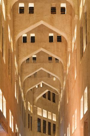 Qatar, Doha, Souq Waqif, redeveloped bazaar area, building detail