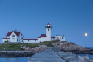 USA, Massachusetts, Cape Ann, Gloucester, Eastern Point LIghthouse with moonrise by Walter Bibikw