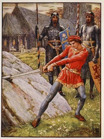 Arthur draws the Sword from the Stone, frontispiece 'Stories of the Knights of the Round Table' by  by Walter Crane