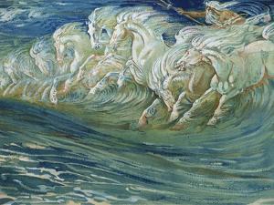 "Neptune's Horses, Illustration for ""The Greek Mythological Legend,"" Published in London, 1910 by Walter Crane"