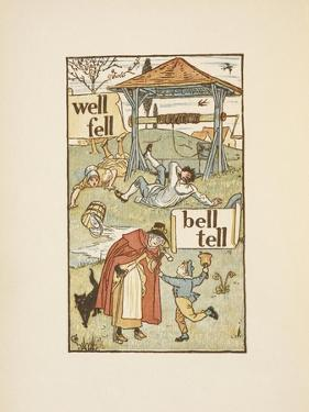 Rhyming Words Ending in the Letter L. a Boy With a Bell. an Old Woman and Her Cat by Walter Crane
