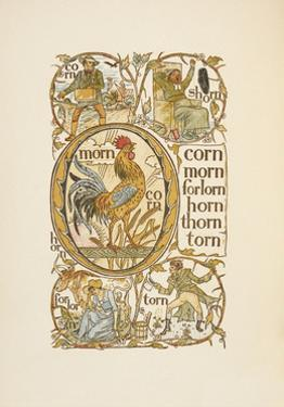 Rhyming Words Ending in the Letter N. To Illustrate the Use Of the Letter O. the Golden Primer by Walter Crane