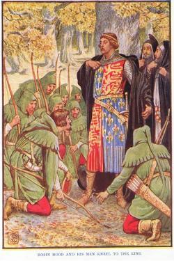 Robin and His Men Kneel to the King, C.1920 by Walter Crane