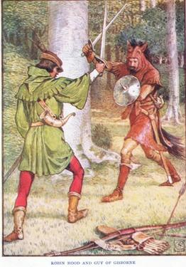 Robin Hood and Guy of Gisborne, C.1920 by Walter Crane