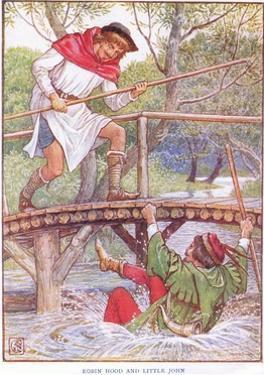 Robin Hood and Little John, C.1920 by Walter Crane