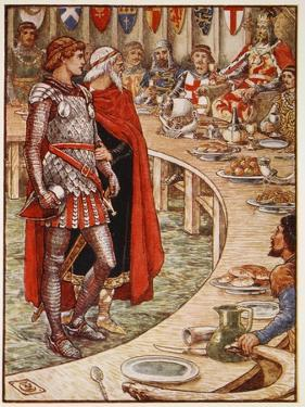 Sir Galahad is brought to Court of King Arthur, from 'Stories of Knights of Round Table' by Walter Crane
