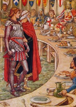 'Sir Galahad is brought to the Court of King Arthur', 1911 by Walter Crane