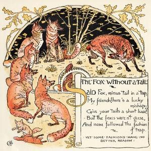 The Fox Without a Tail, Illustration from 'Baby's Own Aesop', Engraved and Printed by Edmund… by Walter Crane