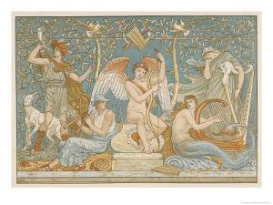 Various Musicians Playing Various Instruments: a Harp a Lyre Pipes Hunting Horn by Walter Crane
