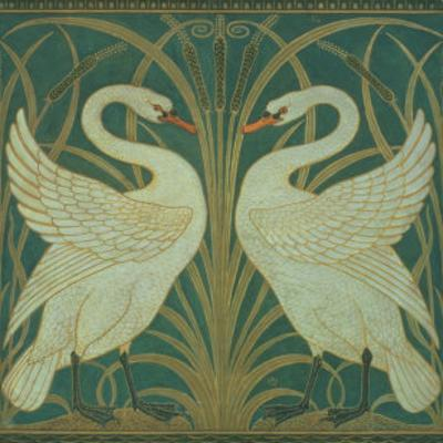 Wallpaper Design For Panel of Swan, Rush and Iris by Walter Crane