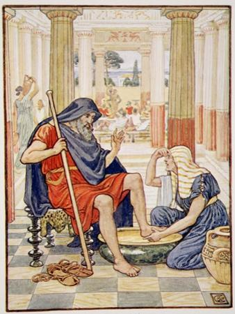 Yea, Verily, Thou Art Odysseus', Illustration from the Story of Greece by Mary Macgregor by Walter Crane