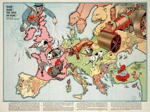 Satirical Map - Hark! Hark! the Dogs Do Bark! 1914 by Walter Emanuel