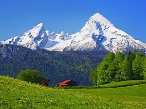 Cabin Below Watzmann Mountain in Bavarian Alps by Walter Geiersperger
