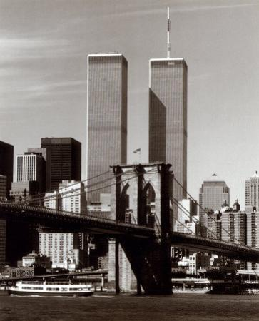World Trade Center and Brooklyn Bridge by Walter Gritsik