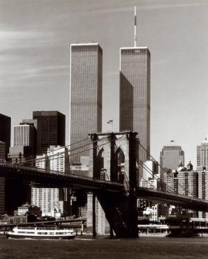 World Trade Center and Brooklyn Bridge by Walter Gritsik