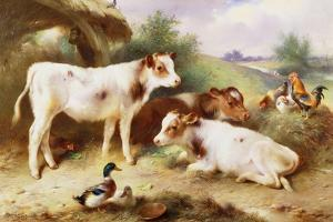Calves and Poultry by a Byre, 1922 by Walter Hunt