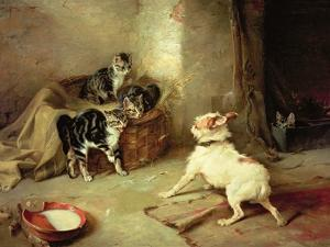 Kittens and Dog, 1881 by Walter Hunt