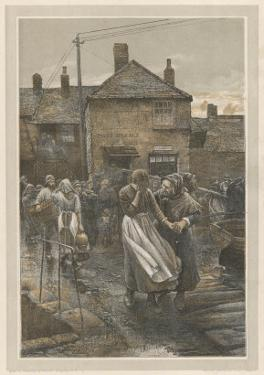 """""""Among the Missing"""" Bad News on the Fishing Fleet's Return by Walter Langley"""