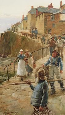 The Quayside, Newlyn by Walter Langley