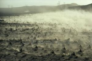 Hundreds of Motorcycles Racing Across the Dry California Ground by Walter Meayers Edwards