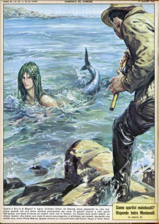 At Bocca di Magra Italy Fisherman Colmaro Orsino of Genova Sees a Mermaid by Walter Molini