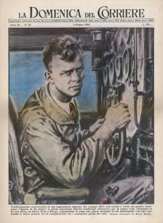 Charles Augustus Lindbergh in the Cockpit of His Monoplane Spirit of St. Louis by Walter Molini