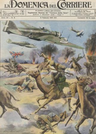 East Africa: Low Level Attack on Allied Forces Including Camel-mounted Cavalry by Italian Planes by Walter Molini