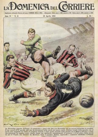 Fiorentina Defeat Milano on Their Home Ground at Firenze by Walter Molini