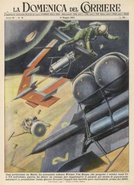 German Engineer Wernher Von Braun Proposes a Variety of Designs for Interplanetary Spacecraft by Walter Molini